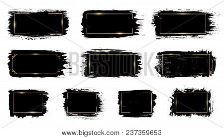 Vector Black Paint, Ink Brush Stroke, Brush, Line Or Texture With Golden Glowing Frame, Border, Dirt