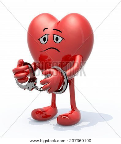 Heart With Arms, Legs, Face And Handcuffs On Hands, 3d Illustration