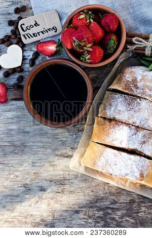 Strudel With Apples And Strawberries. Pie With Apples And Strawberries, Summer Pie. Summer Breakfast