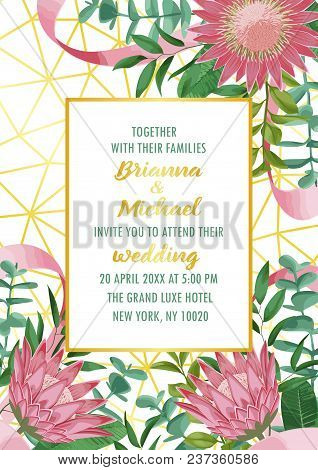 Floral Wedding Invitation With Gold Frame, Protea Flowers, Herb And Bushes In Watercolor Style On Ge