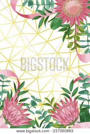 Geometric Gold Background With Protea Flowers, Herb, Bushes Branches With Leaves In Watercolor Style