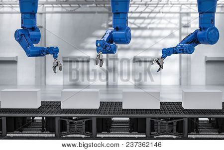 3d Rendering Robot Arms With Boxes On Conveyor Line In Factory