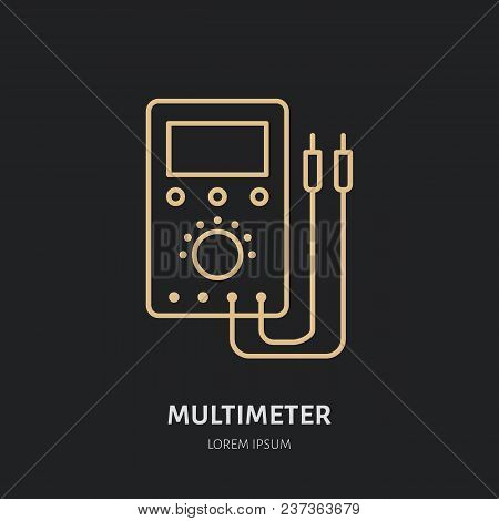 Multimeter Flat Line Icon. Electrician Utility Sign. Thin Linear Logo For Electrical Service.