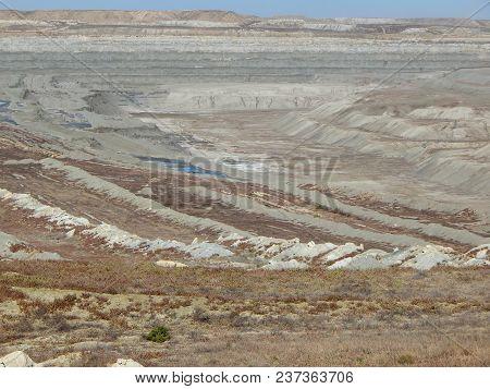 Uranium pit. Abandoned uranium quarry. Mangistau region. Kazakhstan. poster