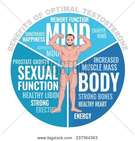 Benefits Of Optimal Testosterone. Beautiful Medical Vector Illustration With Cloud Of Tags Isolated