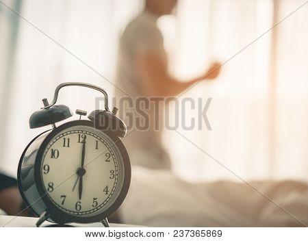 Man Woke Up Early The Clock Showing 6 O Clock