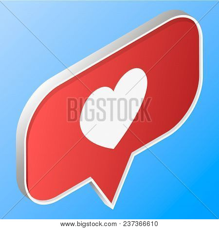 Like, Isometric Icon, 3d Design Illustration Of The Notification On The Social Media, Vector