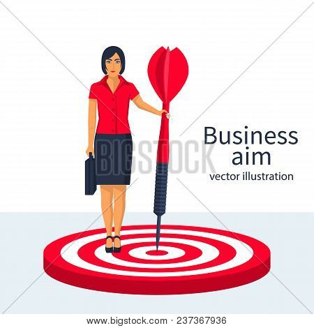 Aim In Business Concept. Successful Businesswoman Hold Arrow In Hand Achievement Goal. Female With B