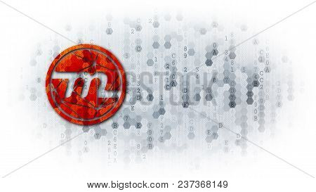 Myriad - Icon On Light-coloured Pixelated Background. Cryptographic Currency Concept.