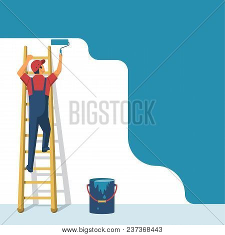 Painter Standing On Staircase Paints The Wall. Man Is Holding Paint Roller In Hand. Vector Illustrat