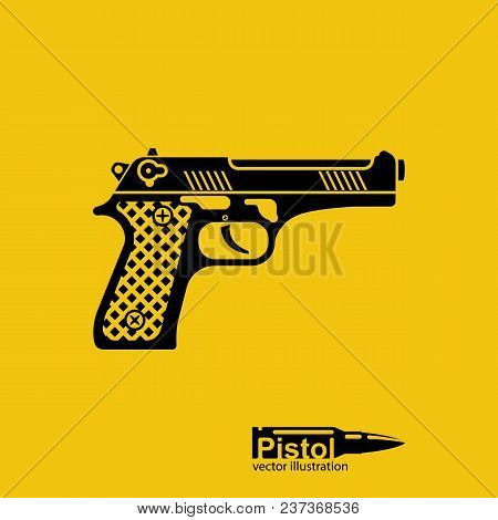 Pistol Black Silhouette Isolated On Yellow Background. Automatic Weapon Pictogram. Handgun Police. S