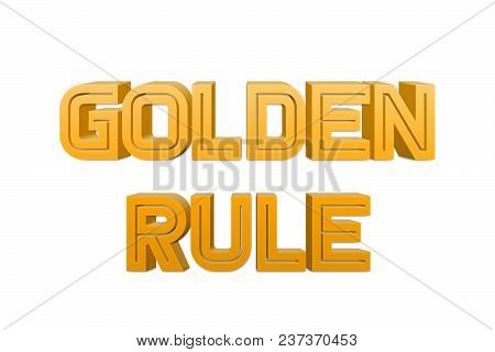 Golden Rule Text For Title Or Headline In 3d Style With Re Thin Cut Letters