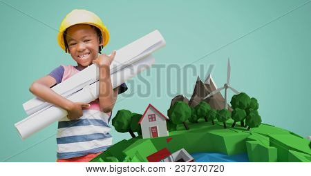 Digital composite of Little girl holding blueprints by low poly earth