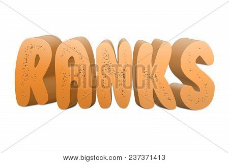 Ranks Text For Title Or Headline In 3d Style With Small Holes In The Letters