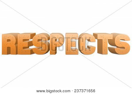 Respects Text For Title Or Headline In 3d Style With Small Holes In The Letters
