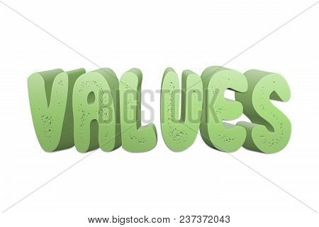 Values Text For Title Or Headline In 3d Style With Small Holes In The Letters