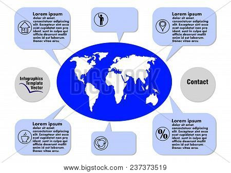 Dark Blue Infographic Vector Template With Geography Elements, World Map, Callouts, Icons, Copy Spac
