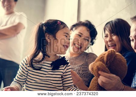 Family spenting time together at home