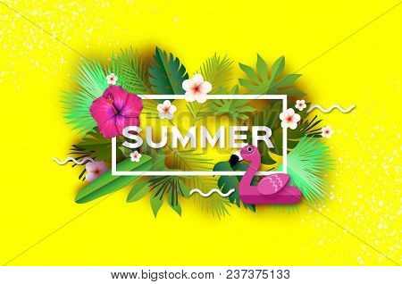 Pink Flamingo Float. Pink Hibiscus Flower. Tropical Summer Day.summer Holidays On Yellow. Palm Leave