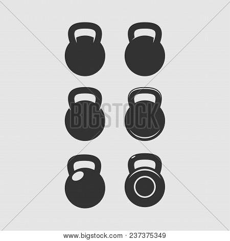 Kettlebell Icon. Sport, Fitness, Bodybuilding Badge Logo Label Embel. Vector Illustration