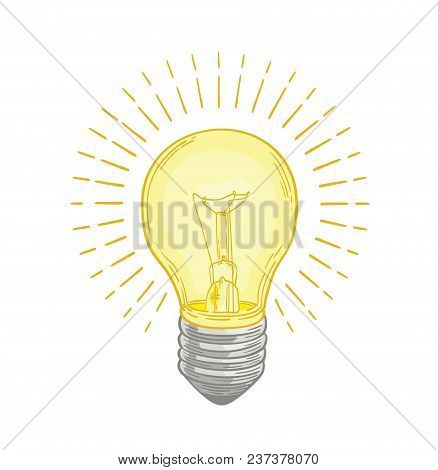 Incandescent Lightbulb Glowing With Bright Yellow Light Hand Drawn On White Background. Drawing Of E