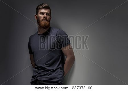 Portrait Of Handsome Single Bearded Young Man With Serious Expression In Gray Short Sleeve Shirt Loo