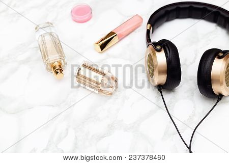 Pink And Gold Accessories Marble Background. Feminine Desk