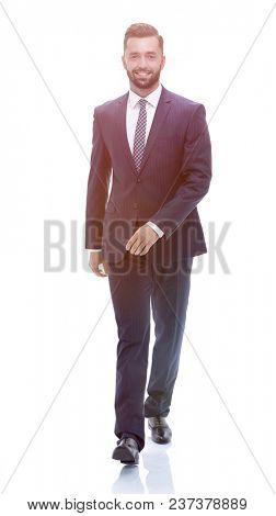 confident businessman goes forward