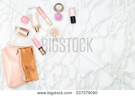 Make Up And Perfume On Marble Background. Copy Space
