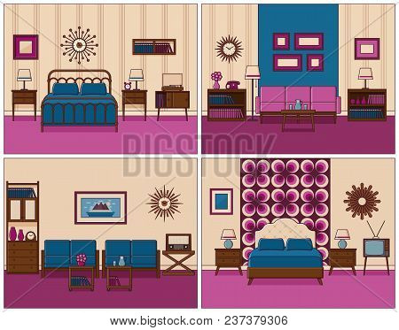 Living Room And Bedroom. Vector. Linear Room Interiors With Furniture. Retro House Scene. Flat Line