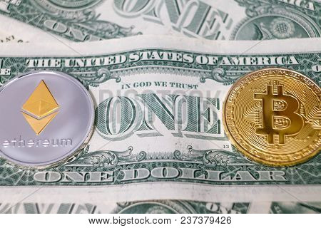 Coin Bitcoin, Coin Ethereum, One Dollar, Crypto Currency Close-up Against Dollar Background. Macro-s