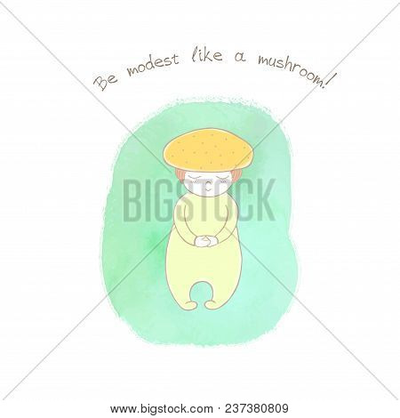 Hand Drawn Humorous Illustration Of An Anthropomorphic Honey Fungus On A Watercolor Background, Text