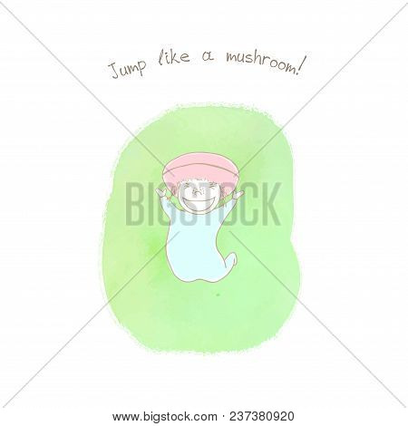 Hand Drawn Humorous Illustration Of An Anthropomorphic Woolly Milk Cap On A Watercolor Background, T