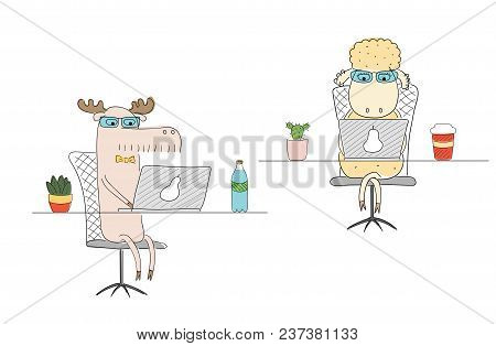 Hand Drawn Vector Illustration Of A Funny Sheep And Moose As Office Workers, At Their Desks With Lap