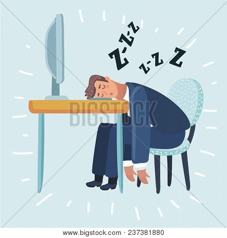 Vector Cartoon Illustration Of Tired Man Sleeping In The Office Sitting On A Red Chair Behind The Of