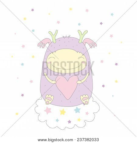 Hand Drawn Vector Illustration Of A Cute Funny Smiling Monster, Holding A Pink Heart, Floating On A