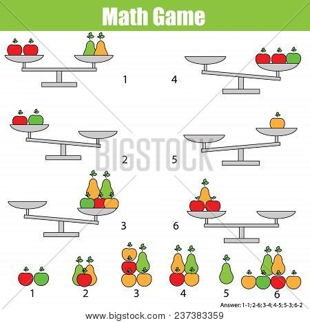 Mathematics Educational Game For Children. Balance The Scale. Learning Counting, Mathematical Equati