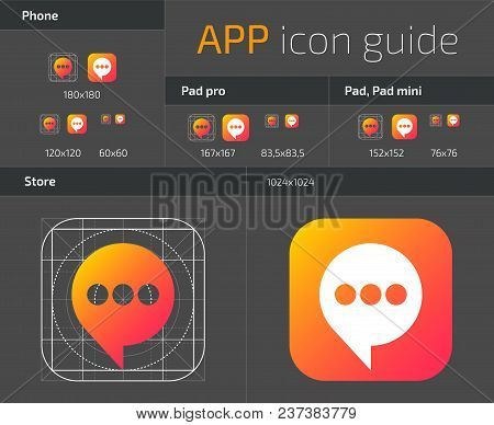 Ui Ios Button Icons Design Guidelines For Web And Mobile App Vector Template. Illustration Of Applic