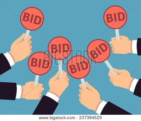 Bidder Hands Holding Auction Paddle. Buyer Business Vector Concept. Auction And Bidder, Business Buy