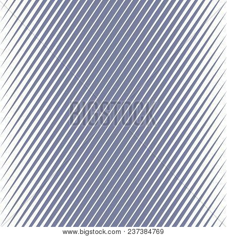 Vector Geometric Halftone Diagonal Stripes Seamless Pattern. Blue Slanted Lines. Gradient Transition