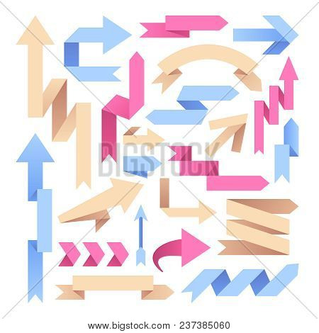 Arrow Paper Ribbons. Retro Origami Arrows. Color Arrowheads Infographic Vector Elements. Origami Arr