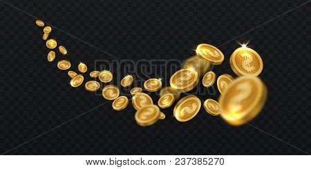 Flying Golden Coins. Gold Coin Rain Isolated. Jackpot Winning Cash 3d Vector Illustration. Money Gol