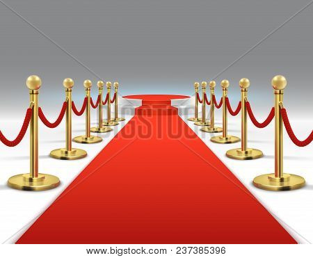 Elegant Red Carpet With Round Podium. Celebrity Lifestyle, Prestige And Glamour Vector Background. I
