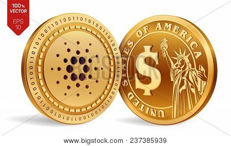 Cardano. Dollar Coin. 3d Isometric Physical Coins. Digital Currency. Cryptocurrency. Golden Coins Wi