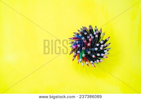 Minimal Work Space  Colorful Background With Many Crayons, Top View Flat Lay