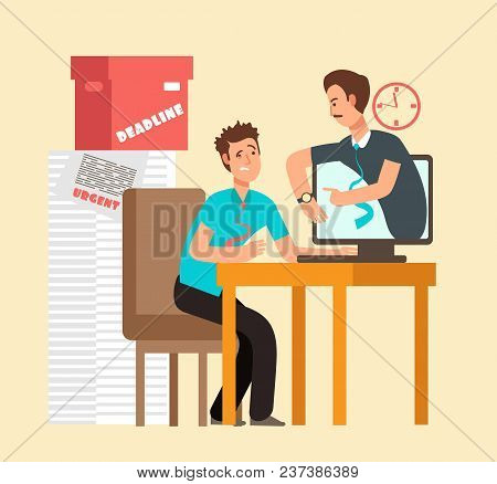 Frustrated Man Workaholic With Laptop And Angry Boss. Overworked Staff And Deadline Vector Concept.
