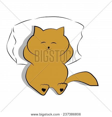 Vector Dark Yellow Drawing Cute Fat Cat Lying On The Pillow. Satisfied Fat Cat With A Shadow