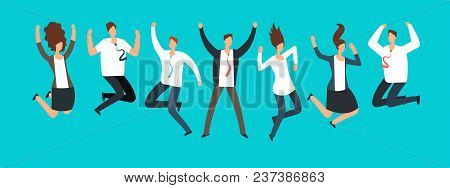Happy Excited Business People, Employees Jumping Together. Successful Team Work And Leadership Vecto