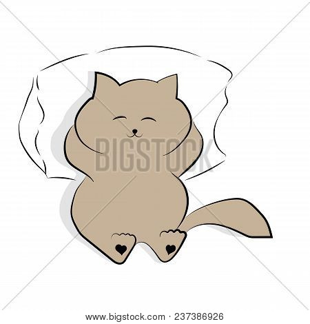 Vector Light Grey Drawing Cute Fat Cat Lying On The Pillow. Satisfied Fat Cat. Shadow Drawn