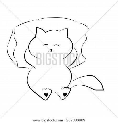Vector Black Outline Drawing Cute Fat Cat Lying On The Pillow. Satisfied Fat Cat